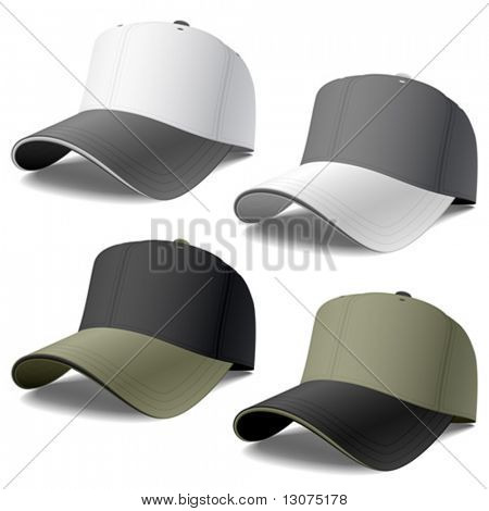 Baseball caps. Vector.