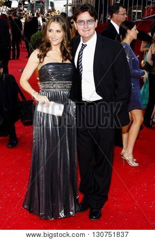 Brooke Allen and Charlie Sheen at the 60th Primetime Emmy Awards held at the Nokia Theater in Los Angeles, USA on September 21, 2008.
