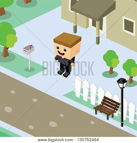 Businessman Residential Home Isometric Cartoon