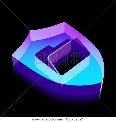 Business icon: 3d neon glowing Folder With Shield made of glass with reflection on Black background, EPS 10 vector illustration.