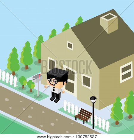 Businessman Residential Home Isometric Cartoon