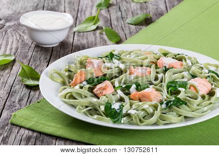 Salmon and Spinach Fettuccine alfredo pasta on white dish on green table mat on a rustic table with cream sauce on a gravy boat italian style studio lights close-up