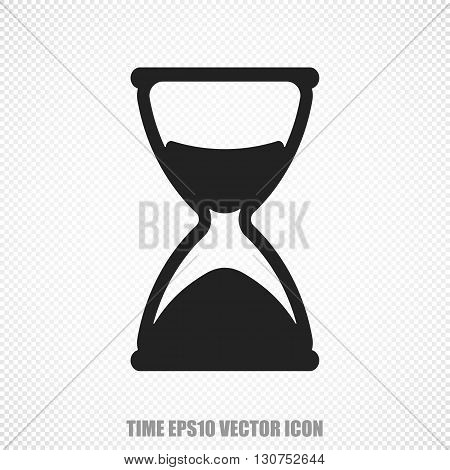 The universal vector icon on the timeline theme: Black Hourglass. Modern flat design. For mobile and web design. EPS 10.