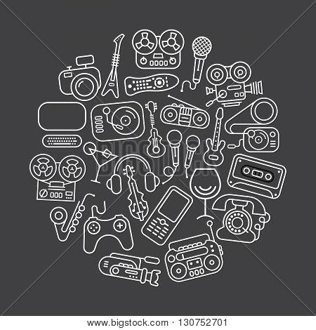 Art line on a dark grey background Entertainment and Home electronics vector icon set. Round shape illustration.