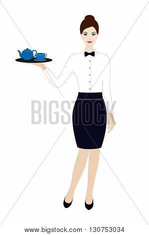 Waitress in dark blue skirt with tea cup and tea pot isolated