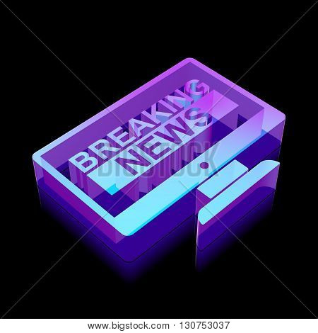 News icon: 3d neon glowing Breaking News On Screen made of glass with reflection on Black background, EPS 10 vector illustration.