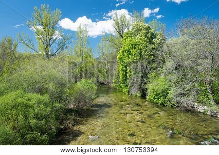 Lozoya river watercourse of the mountains that supplies the city of Madrid