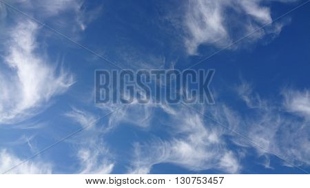 blue sky with cirrus clouds on it
