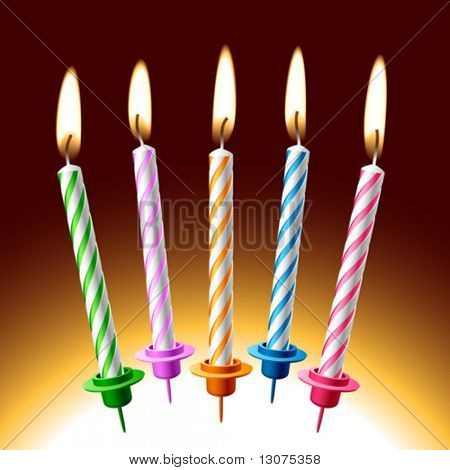 Birthday candles. Vector illustration. Place on your cake.