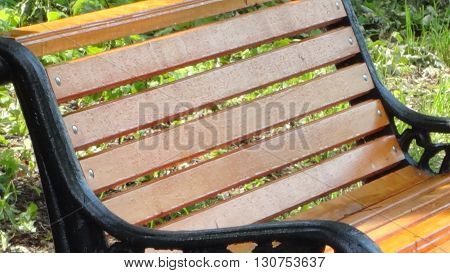 wooden bench in the park with cast iron arms