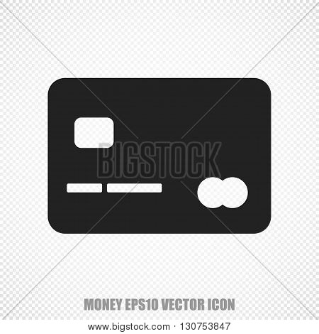 The universal vector icon on the currency theme: Black Credit Card. Modern flat design. For mobile and web design. EPS 10.