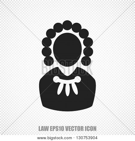The universal vector icon on the law theme: Black Judge. Modern flat design. For mobile and web design. EPS 10.
