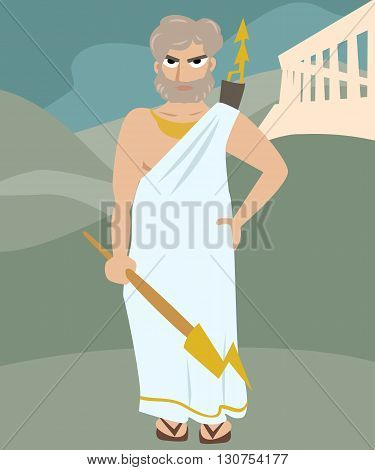 zeus deity cartoon vector colorful illustration of antique god
