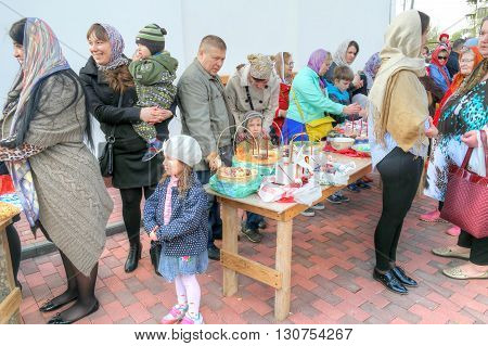 MOSCOW RUSSIA - May 01.2016: Parishioners prepare cakes and eggs for blessing on the eve of the Easter holiday