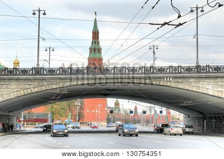 MOSCOW RUSSIA - May 02.2016: Kremlin embankment Bolshoy Kamenny Bridge and Kremlin. Historical center of city