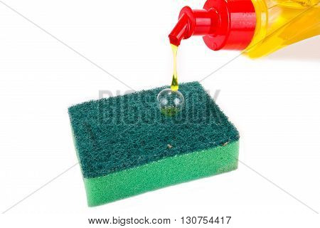 Cleanser is poured on a sponge it is isolated on a white background