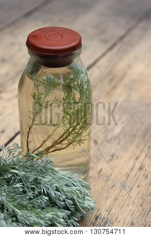 Sprig plant Shepherd's purse Capsella bursa-pastoris in a glass bottle. Tincture.Wormwood.