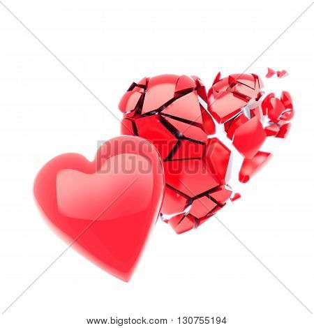 Two red 3d hearts, isolated on white