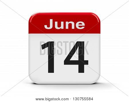 Calendar web button - The Fourteenth of June - World Blood Donor Day and American Flag Day three-dimensional rendering 3D illustration