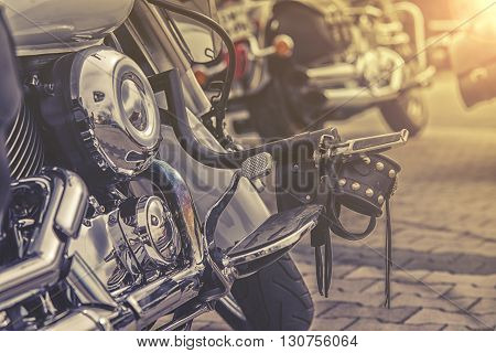 gear shifter pedal of a motorcycle. on street