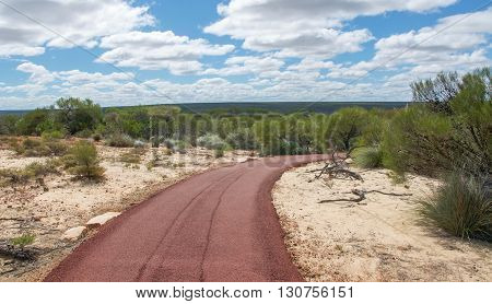 Pedestrian path through the native green flora and sandy landscape in Kalbarri National Park under a blue sky with clouds in Western Australia.