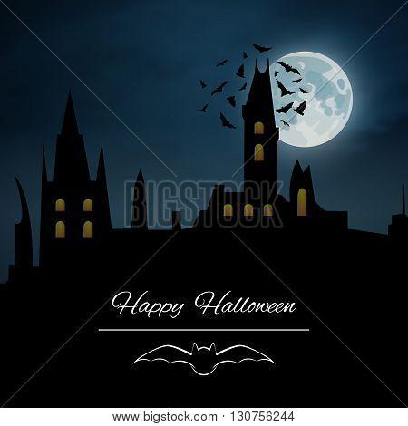 Happy Halloween vector background, castle night, moon and bat
