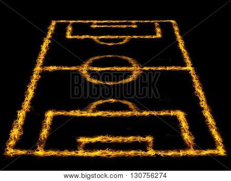 Perspective View Of Soccer Field Or Football Field, Fire Lines