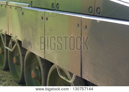 close up on Military armored tank metal plate