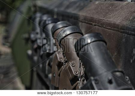 close up on tank defance on armor