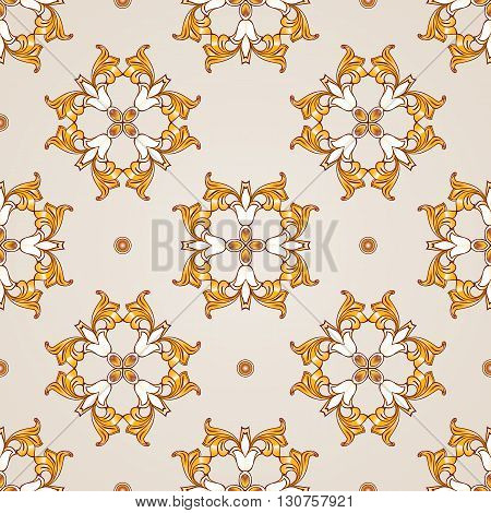 Seamless pattern made of abstract yellow flowers on pastel rose pink background