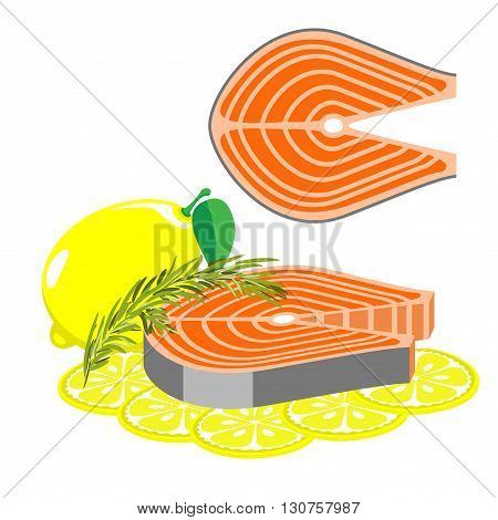 Seafood is a healthy diet. A piece of salmon with rosemary and lemon.