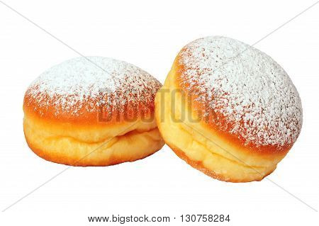 two fresh doughnuts isolated over white background