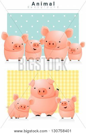 Animal background with Pigs , vector, illustration