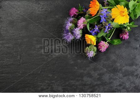 summer flowers over dark slate board background