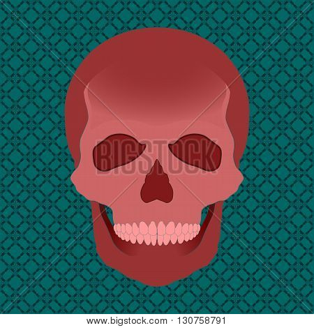 Vector red skull illustration on a pattern background