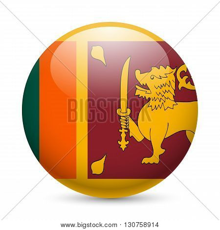 Flag of Sri Lanka as round glossy icon. Button with flag design