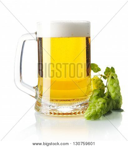 Pint Of Beer On Table With Hop Cones Isolated On White