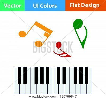 Flat Design Icon Of Piano Keyboard