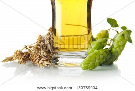 Cropped Mug Of Beer On Table With Hop Cones, Ears Of Wheat Isolated On White