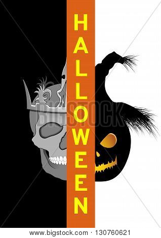 Poster Halloween skull and scarecrow, vector illustration