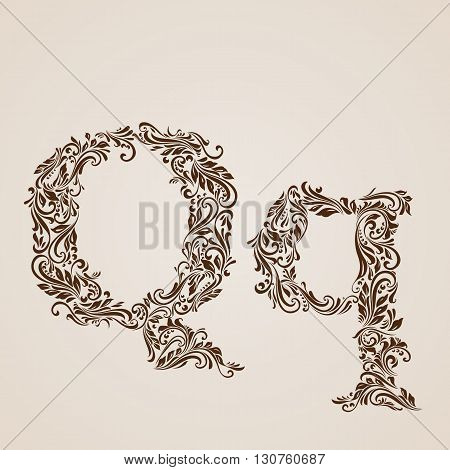Handsomely decorated letter q in upper and lower case.