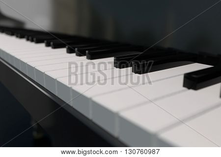 3D computer rendering of a piano keyboard in closeup