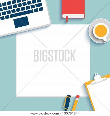 Set of Flat vector design illustration of modern business office and workspace. Blank paper, mock up. Top view of desk background with laptop, cup, office objects. All objects under mask
