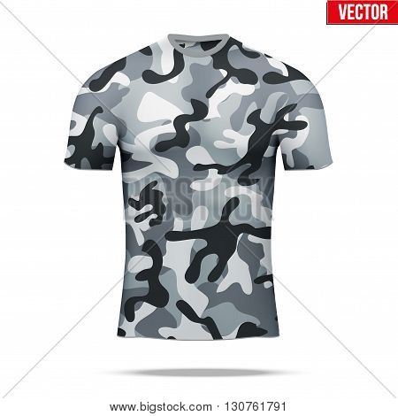 Base layer underwear compression t-shirt of thermal fabric  in urban camouflage style. Sample typical technical illustration.  Vector Illustration isolated on white background