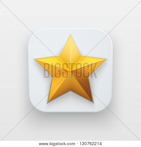 Star icon of Rating and Top Symbol on light backdrop with shadow. Vector Illustration Isolated on background
