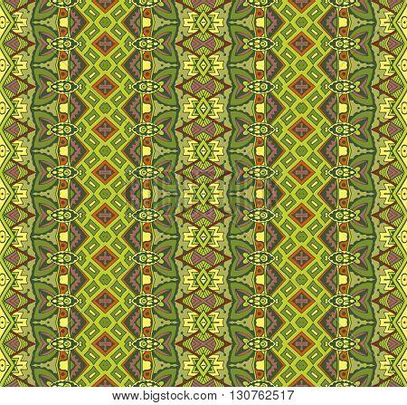 Ethnic folk seamless pattern. Tribal art print. green patchwork  border background texture. Fabric, cloth design, wallpaper, wrapping