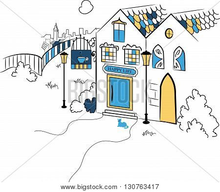 Town silhouette vector illustration for your design