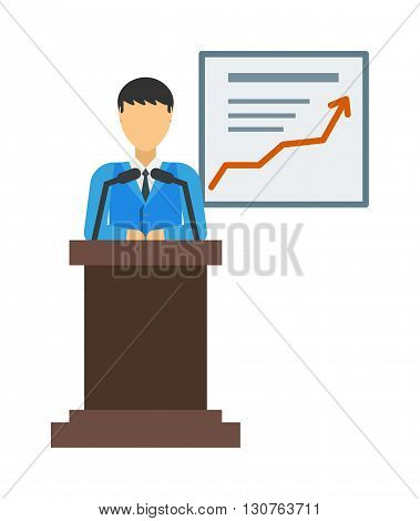 Businessman in suit and tie making report presentation explaining charts on white board. Business seminar report presentation. Flat style vector report presentation isolated. Report presentation.