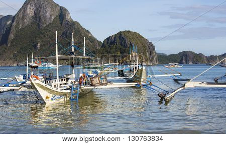 El NIDO, PHILIPPINES - FEB. 16: Morning in the harbor fishing village of El Nido FEB. 16, 2016 in El Nido Philippines.