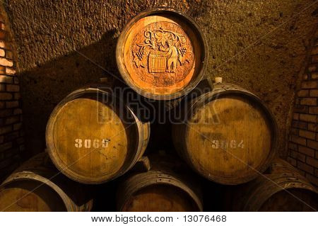 Barrels in a wine-cellar.